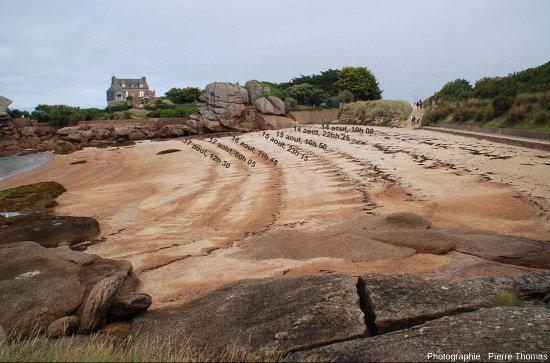 Analogie miniature actuelle (plage à Trégastel, Côtes d'Armor) montrant comment une baisse relative du niveau de la mer par rapport au continent peut engendrer le dépôt de cordons étagés