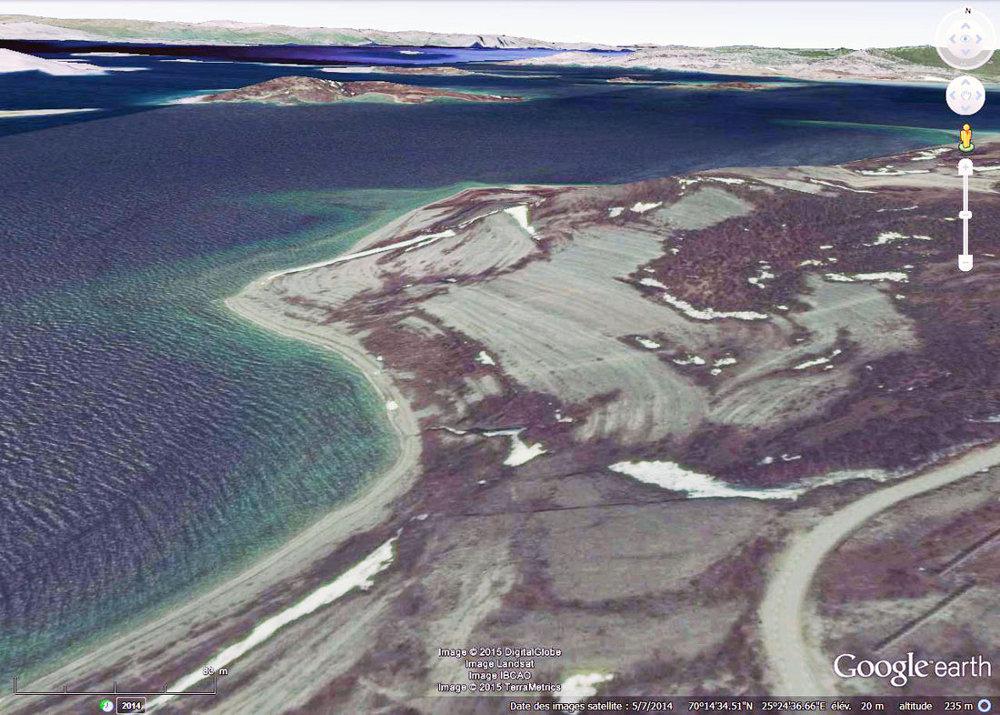 Vue aérienne du secteur des plages soulevées de Borselv - Porsanger, Norvège