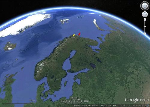 Localisation des plages soulevées de Porsanger / Borselv et de Batsfjord, au Nord de la Scandinavie