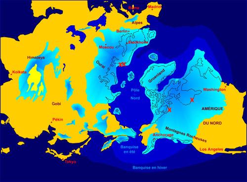 Position des calottes glaciaires de l'hémisphère Nord lors du dernier maximum glaciaire (DMG, -18000ans)