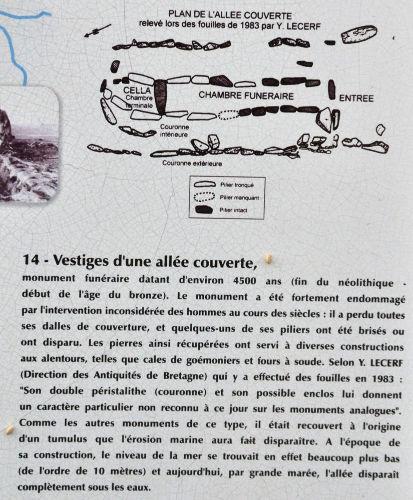 Panneau explicatif indiquant l'existence et précisant les particularités archéologiques et géologiques de l'allée couverte de Guinirvit