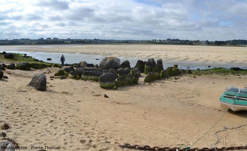 Vue, depuis l'Ouest, de l'allée couverte de Guinirvit, Baie de Kernic, Plouescat (Finistère)