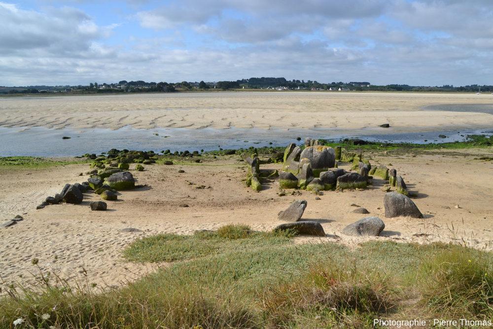 Vue globale, depuis les dunes du Nord, de l'allée couverte de Guinirvit et de sa couronne externe
