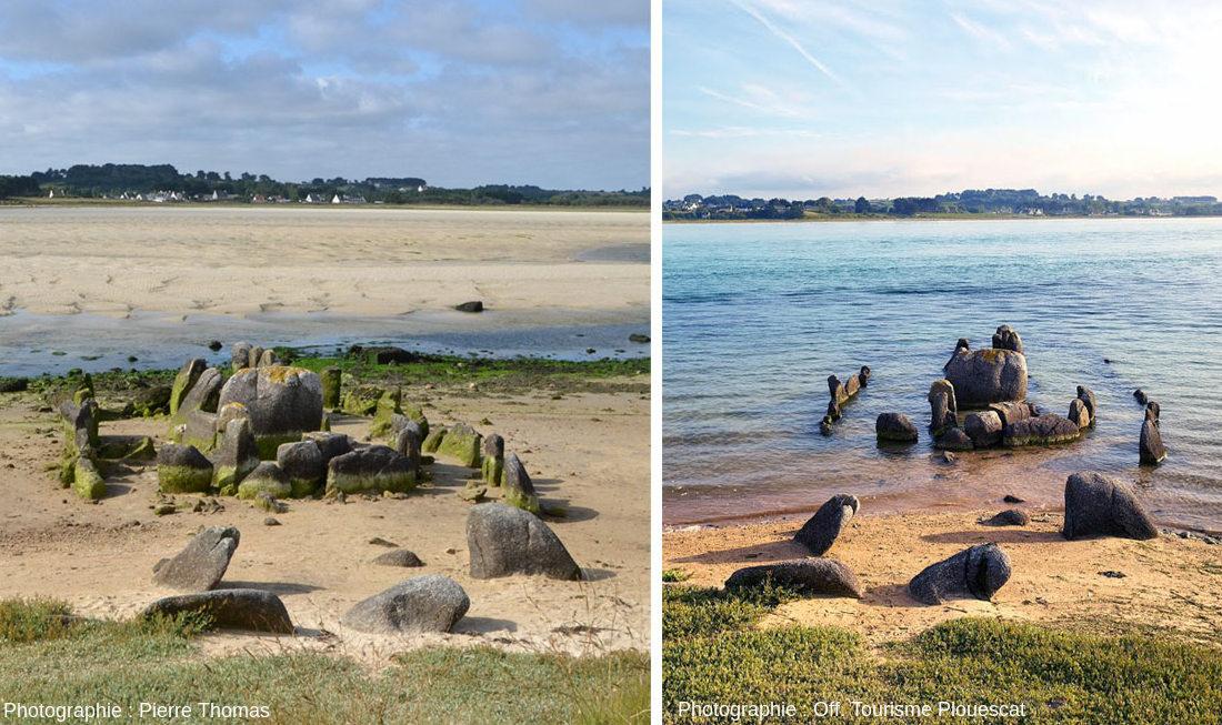 Montage de deux images, l'une à marée basse (à gauche) et l'autre à marée haute (à droite), marée haute de mortes eaux laissant dépasser le haut des pierres dressées