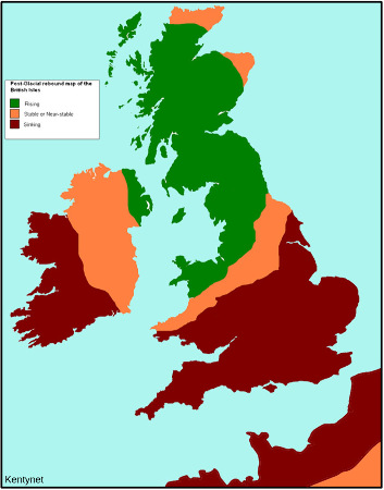 Carte des mouvements verticaux actuels causée par les phénomènes isostatiques post-glaciaires en Grande-Bretagne et au Nord-Ouest de la France
