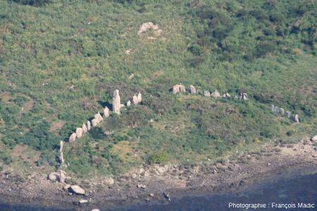 Vue aérienne détaillée de la moitié émergée du cromlech d'Er Lanic