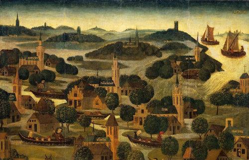 Quart supérieur droit du tableau Sint-Elisabethsvloed (inondation de la Sainte Élisabeth), Rijksmuseum, Amsterdam
