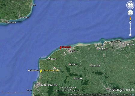Localisation de la Pointe aux Oies et de Sangatte face aux côtes anglaise