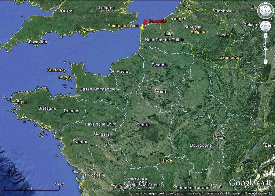 Localisation de la Pointe aux Oies et de Sangatte, Pas de Calais