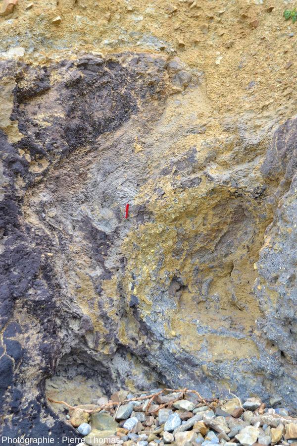 Zoom sur le diapir et sa relation avec les argiles jaunes, plage de Trez-Rouz (Crozon, Finistère)