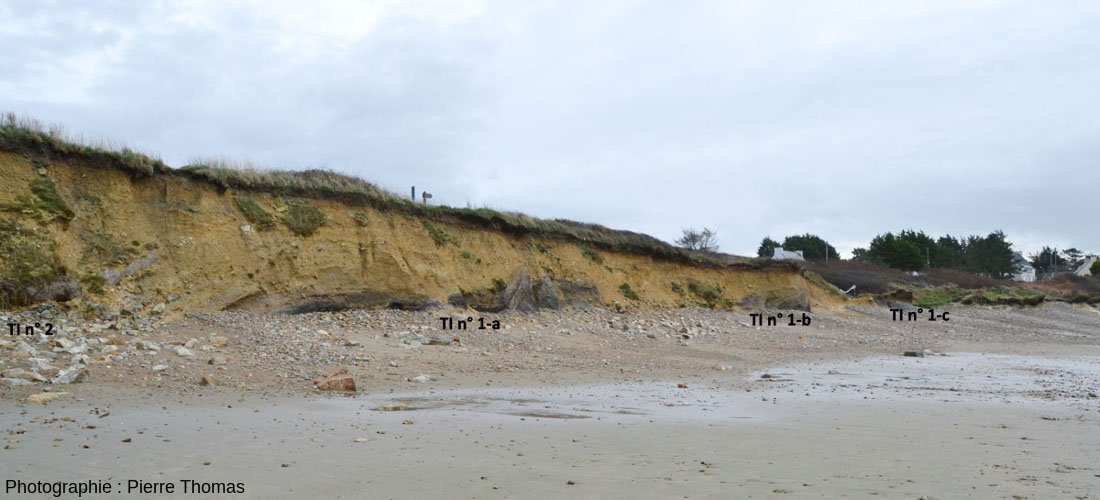 Vue d'ensemble de la plage de Trez-Rouz (Finistère) localisant les principaux affleurements d'argiles tourbeuses affleurant dans la falaise