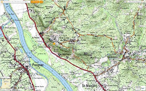 Situation de Sainte Croix du Mont (Gironde)