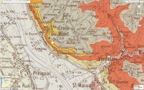 Carte géologique de Sainte Croix du Mont (carte BRGM au 1/50000 de Langon)