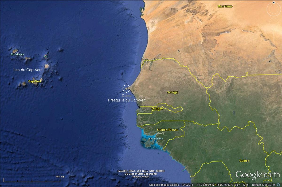 Bordure occidentale de l'Afrique de l'Ouest, avec localisation de la presqu'île du Cap-Vert (Dakar, Sénégal)