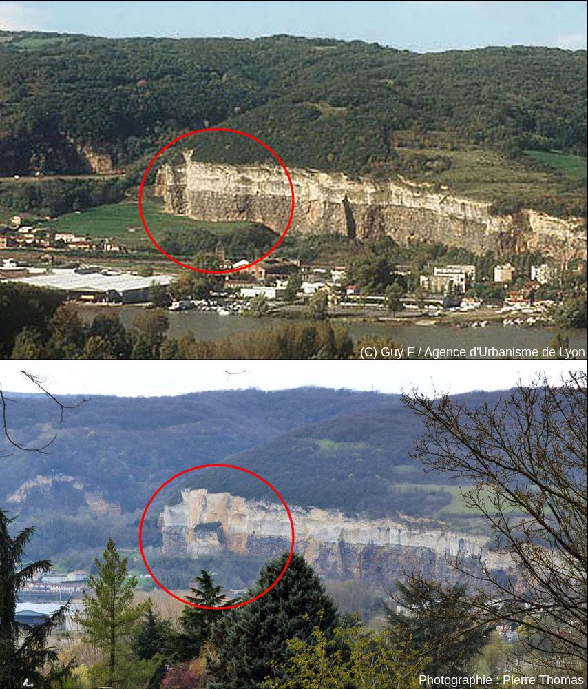 Les falaises de Couzon au Mont d'Or 3 semaines avant et 22 ans après l'éboulement du 21 octobre 1993, vues approximativement depuis le même site
