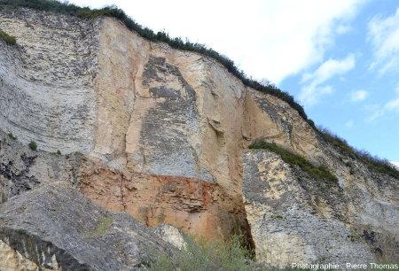 Vue de détail de la paroi immédiatement au Sud du gros bloc éboulé et resté vertical, carrière de Couzon au Mont d'Or