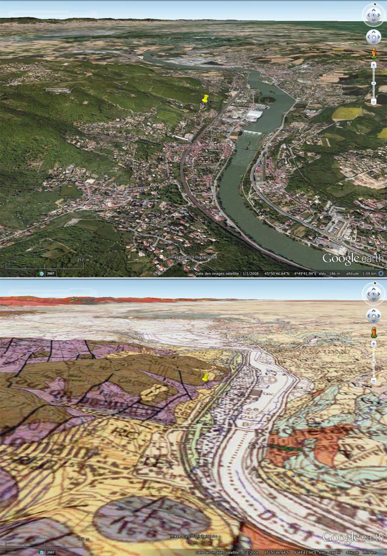 Vues aérienne et géologique du secteur de Couzon au Mont d'Or