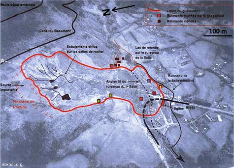 Photographie aérienne annotée du secteur du glissement de terrain de la Salle en Beaumont (isère)