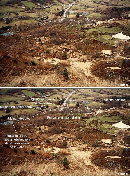 Vue d'ensemble brute et annotée du glissement de la Salle en Beaumont prise depuis l'amont du glissement, le 8 janvier 1994