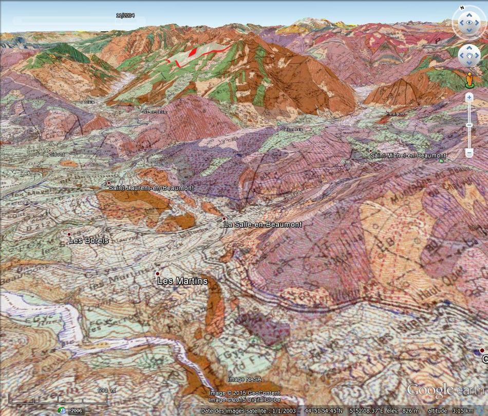 Carte géologique, en vue 3D, du secteur de la Salle en Beaumont (Isère)