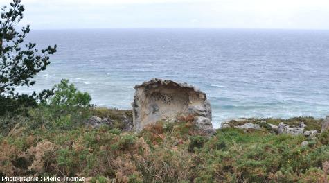 """Vue d'ensemble d'un pinacle de grès percé d'une """"grotte"""" à taffonis"""