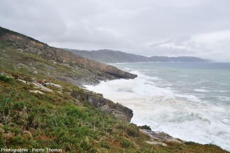 Vue sur les strates de grès de Jaizkibel plongeant dans l'océan, vue prise en direction de l'Ouest