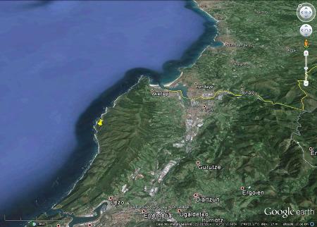 Vue globale du massif du Jaizkibel à l'Ouest de la frontière franco-espagnole