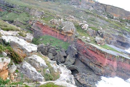 Certaines couches de grès du Jaizkibel sont colorées en rouge, rose ou en jaune par des oxydes ferriques plus ou moins hydratés