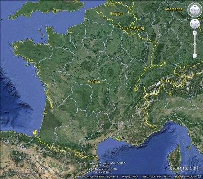 Position du massif du Jaizkibel (punaise jaune), au Pays basque espagnol, juste à côté de la frontière franco-espagnole