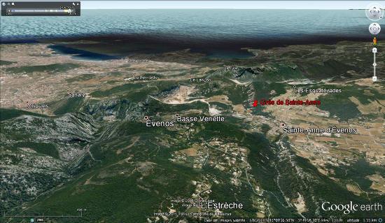 Vue aérienne de la région de Sainte-Anne