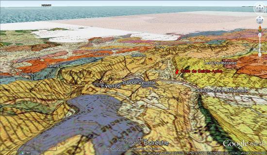 Vue aérienne de la région de Sainte-Anne, avec fond géologique