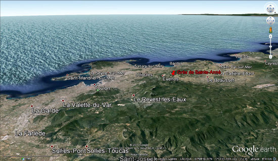 Localisation des grès de Sainte-Anne au NO de l'agglomération de Toulon (Var)