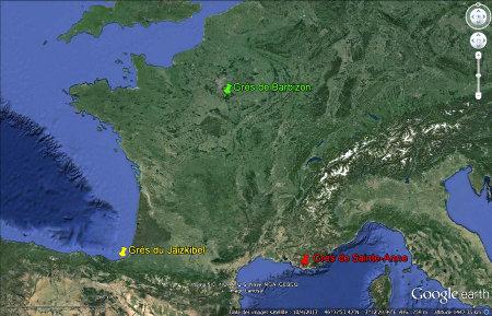 Localisations des grès (1) de Sainte-Anne, (2) du Jaizkibel, et (3) de Barbizon