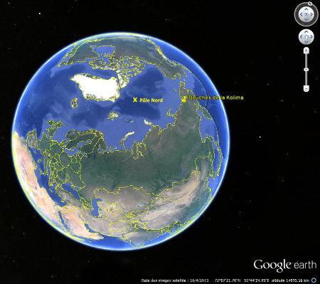 Localisation de l'embouchure de la Kolyma, dans l'extrême Nord-Est de la Sibérie, par 69° de latitude Nord