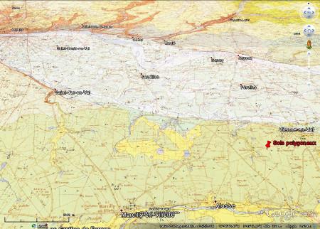 Carte géologique en vue oblique du Val de Loire, en amont d'Orléans