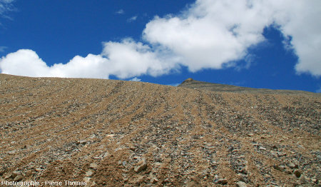 Sols striés pris sur le bord de la Leh-Manali Highway, versant Nord du Lachulungla (Ladakh indien)