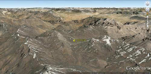 Vue aérienne du secteur du col du Lachulungla (Ladakh indien)