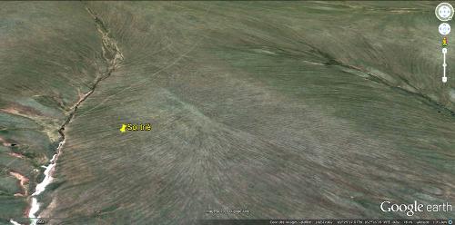 Vue aérienne de sol striés dans la région des bouches de la Kolyma (Sibérie)