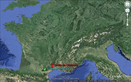 Localisation des grottes de Limousis et de Clamouse dans le Languedoc