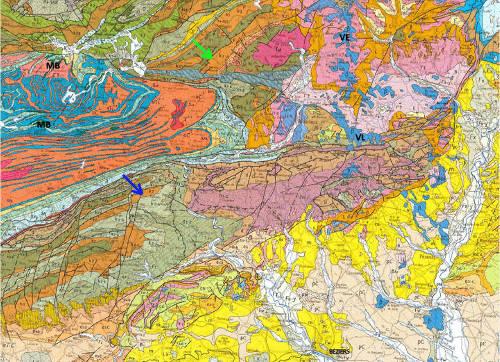Extrait de la carte géologique de Montpellier au 1/250000