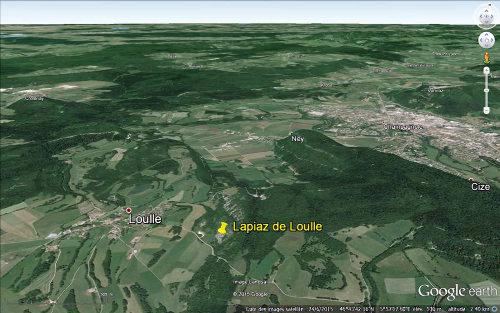 Localisation du petit lapiaz de Loulle (Jura)
