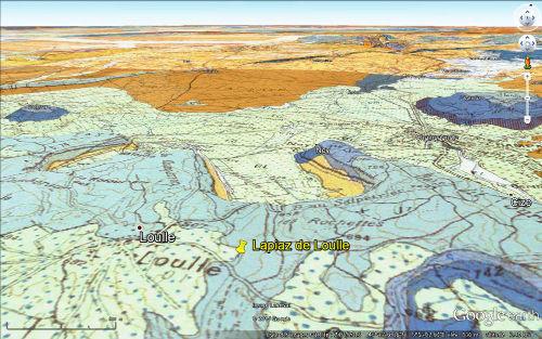 Localisation du lapiaz de Loulle sur la carte géologique
