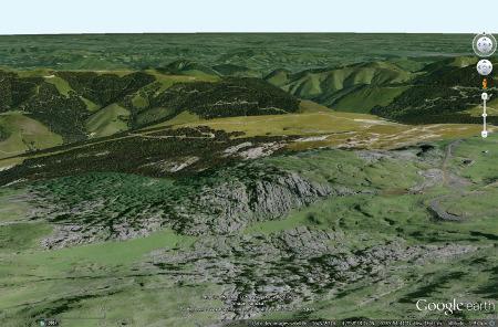 Vue aérienne du petit secteur étudié du lapiaz de la Pierre Saint Martin (Pyrénées Atlantiques)