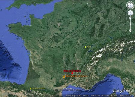 Localisation des lapiaz évolués du Bois de Païolive et de Montpellier le Vieux, ainsi que ceux lapiaz moins matures de Loulle et de la Pierre Saint Martin