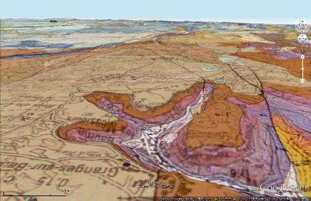 Carte géologique du système de reculées de Baume-les-Messieurs, avec la même projection que la figure précédente