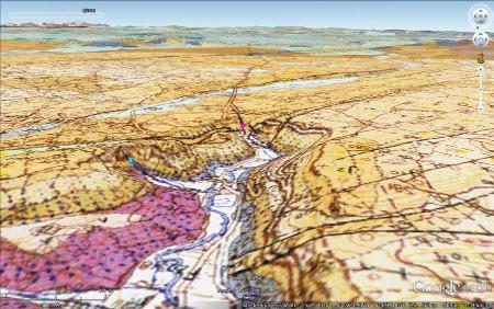 Carte géologique de la reculée des Planches-près-Arbois, avec la même projection que la figure précédente