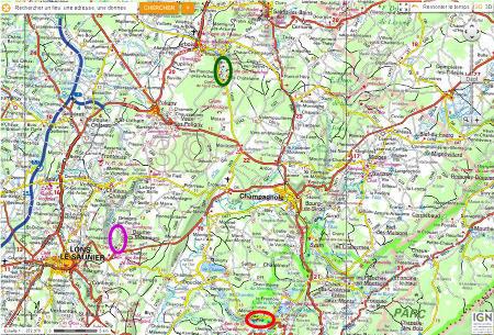 Localisation des vallées et reculées de Baume-les-Messieurs, des Planches et du Hérisson
