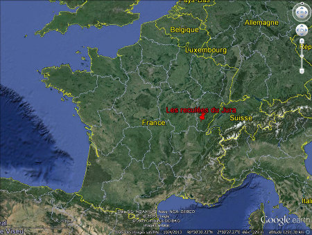 Localisation des reculées du Jura