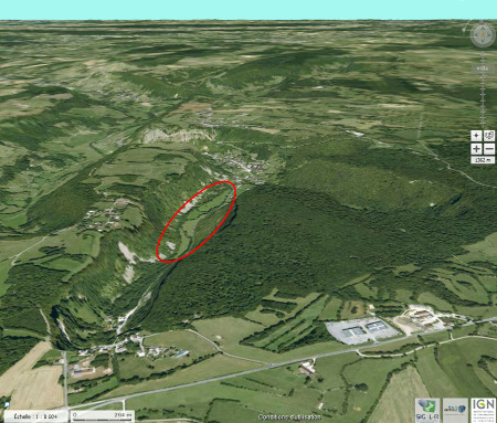 Localisation des secteurs où ont été prises toutes les photos qui précèdent (ellipse rouge)