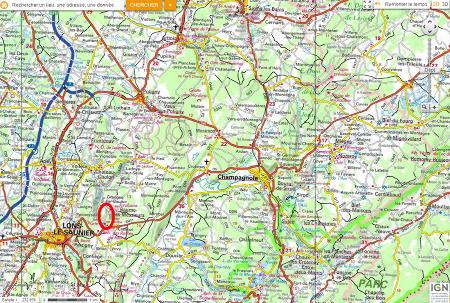 Localisation de la reculée de Baume-les-Messieurs et de ses stromatolithes, à proximité de Lons-le-Saunier, préfecture du Jura
